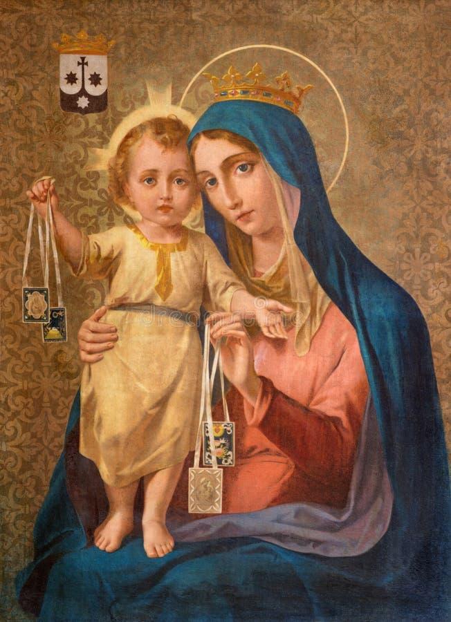Turin - a pintura de nossa senhora de Monte Carmelo no della Madonna del Carmim de Chiesa da igreja imagem de stock