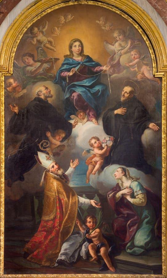 Turin - pintura do tra de Vergine do ` mim ss ` De Biagio e Liduvina na igreja Chiesa di San Francesco por Isabela Maria dal Pozz imagem de stock