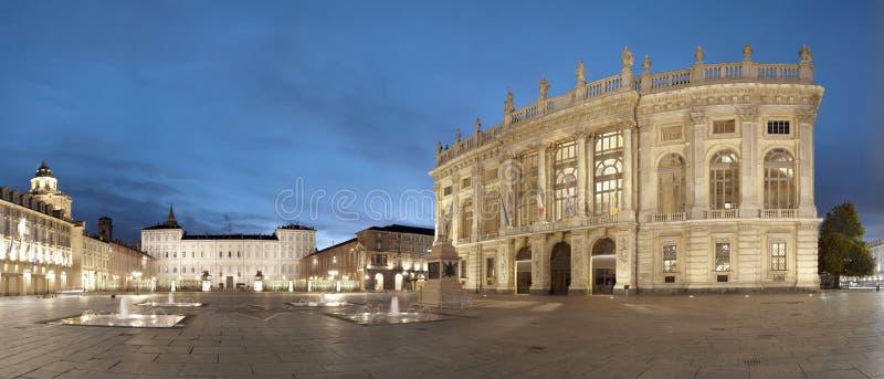 Turin, praça Castello, Italy imagem de stock