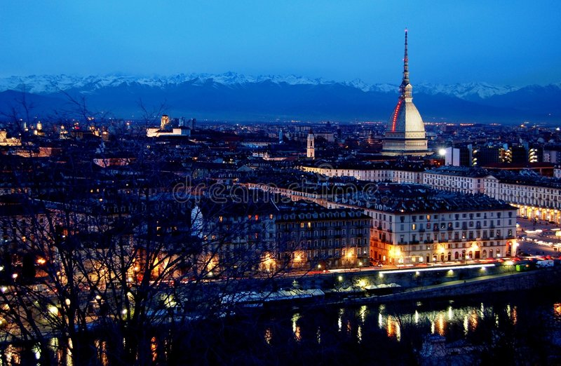 Turin skyline at dusk stock photos