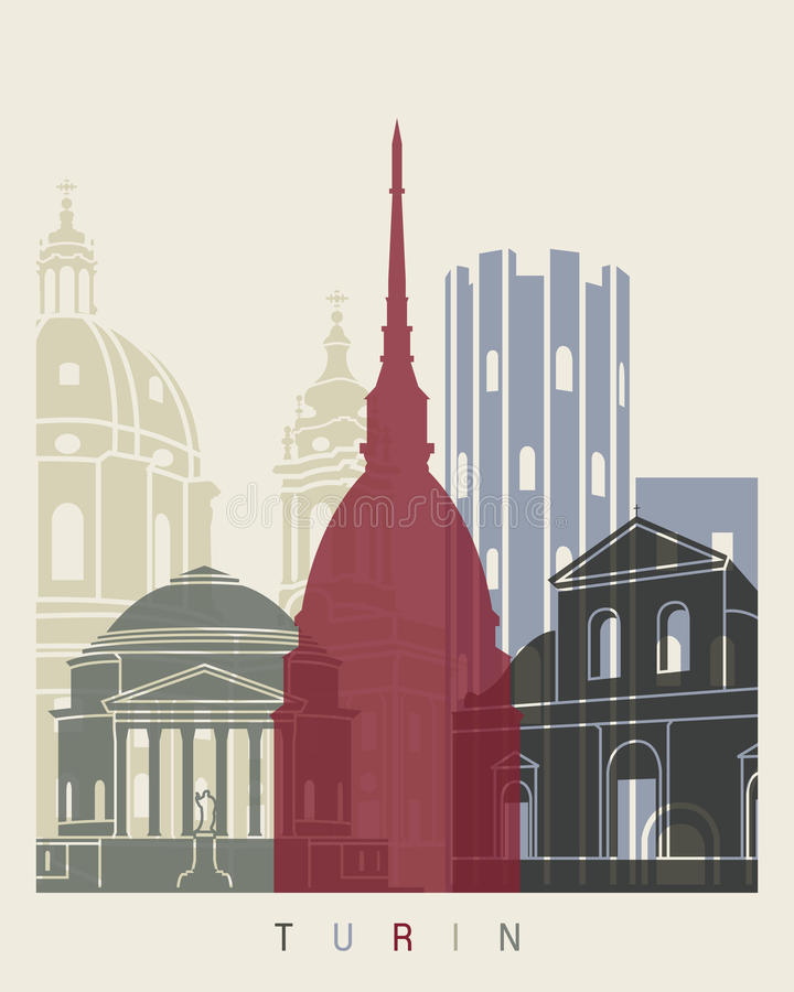 Turin skyline poster vector illustration