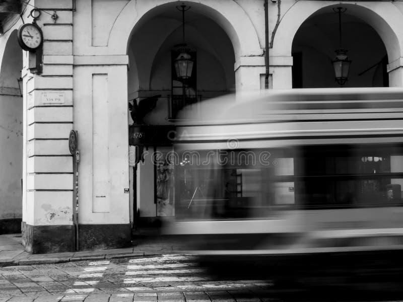 Turin spårvagn i rörelse royaltyfria bilder