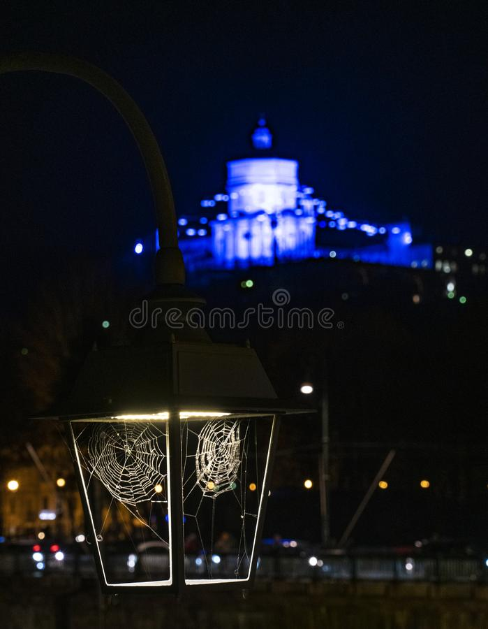 Turin the spiderweb of the river Po. Turin Piedmont Italy Some cobwebs around the light bulb of a night lamp that illuminates the banks of the river Po, in the