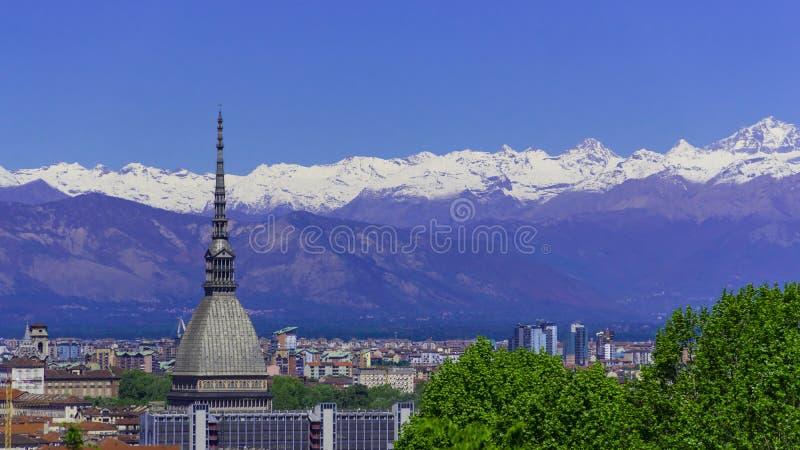 Turin, Torino, Aerial Timelapse Skyline Panorama With Mole