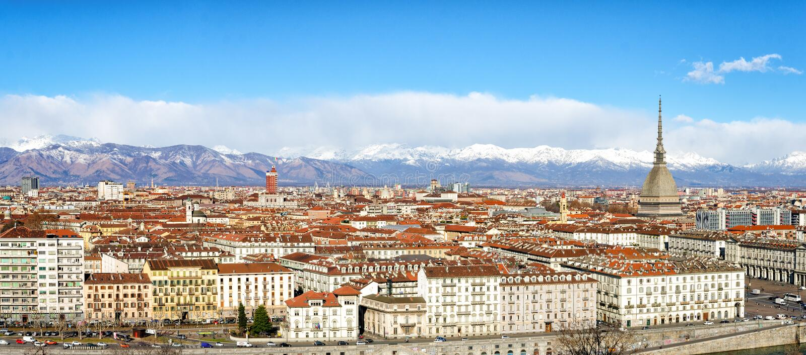 Turin (Torino) high definition panorama. On a sunny day stock images