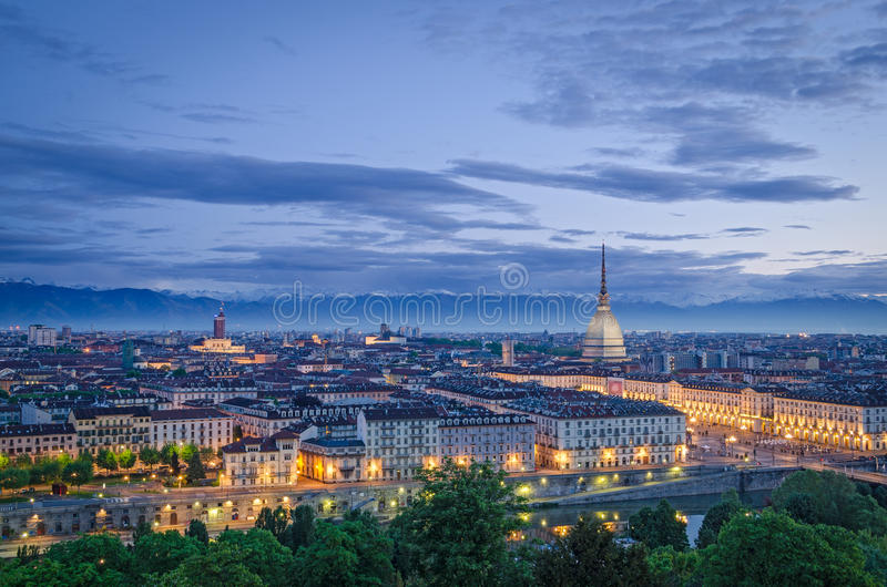 Turin (Torino), high definition panorama at twilight. With Mole Antonelliana and Piazza Vittorio stock photography