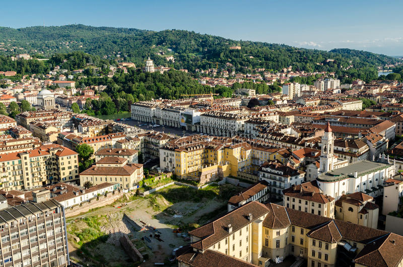 Turin (Torino), panorama on the hills royalty free stock photos