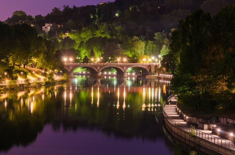 Turin (Torino), river Po and Ponte Isabella royalty free stock photo