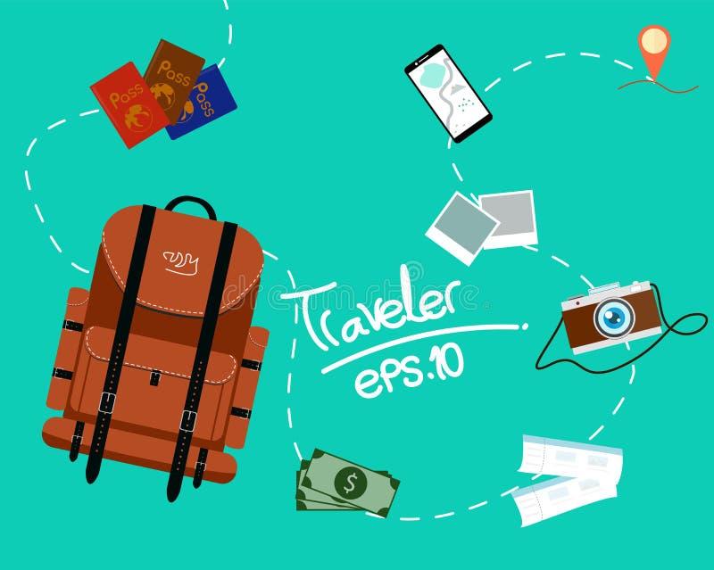 Turism av ryggsäckhandelsresanden med snabbt lopp på en plan designstil stock illustrationer