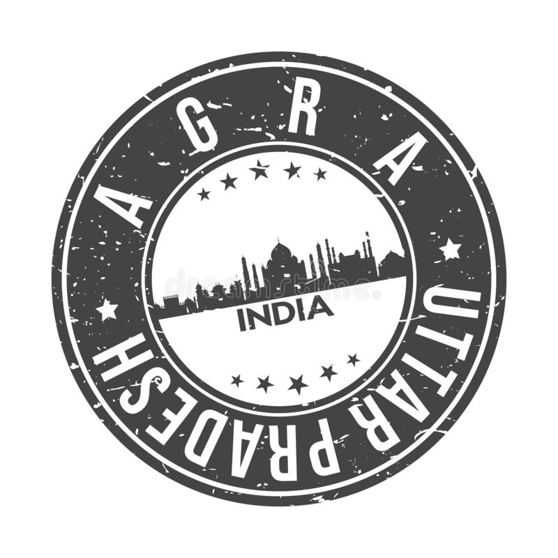 Turism för lopp för vektor för stämpel för design för horisont för stad för Agra Uttar Pradesh Indien rundaknapp royaltyfri illustrationer