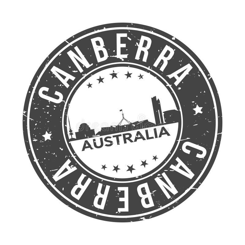 Turism för lopp för vektor för stämpel för design för horisont för stad för Canberra Australien Oceanien rundaknapp stock illustrationer