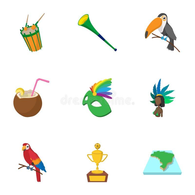 Turism i Brasilien symboler ställde in, tecknad filmstil vektor illustrationer