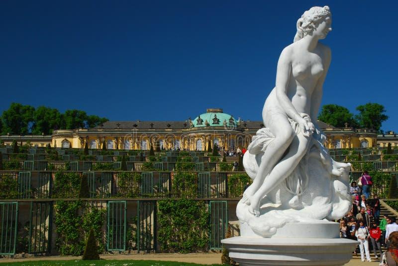 Turism i Tyskland. Potsdam Sans det Souci slottet arkivfoton