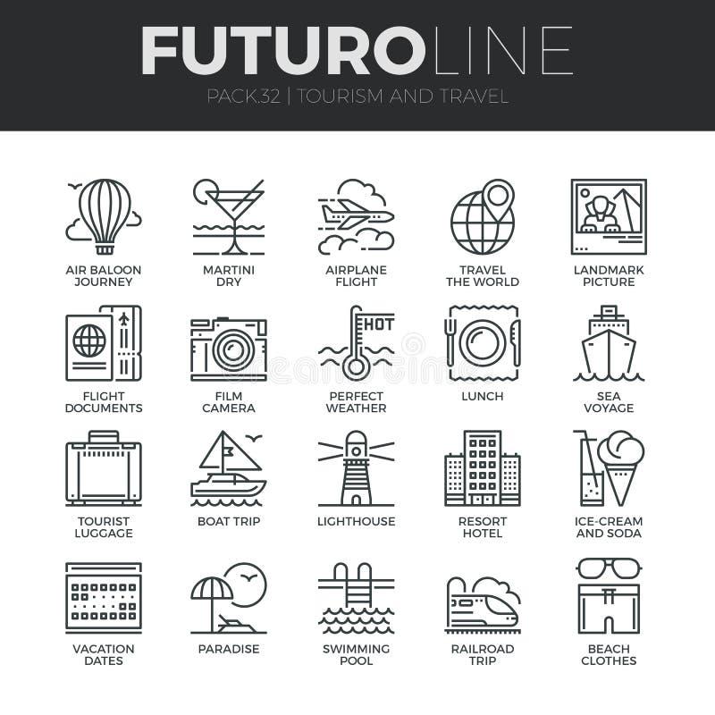 Turism- och loppFuturo linje symbolsuppsättning stock illustrationer