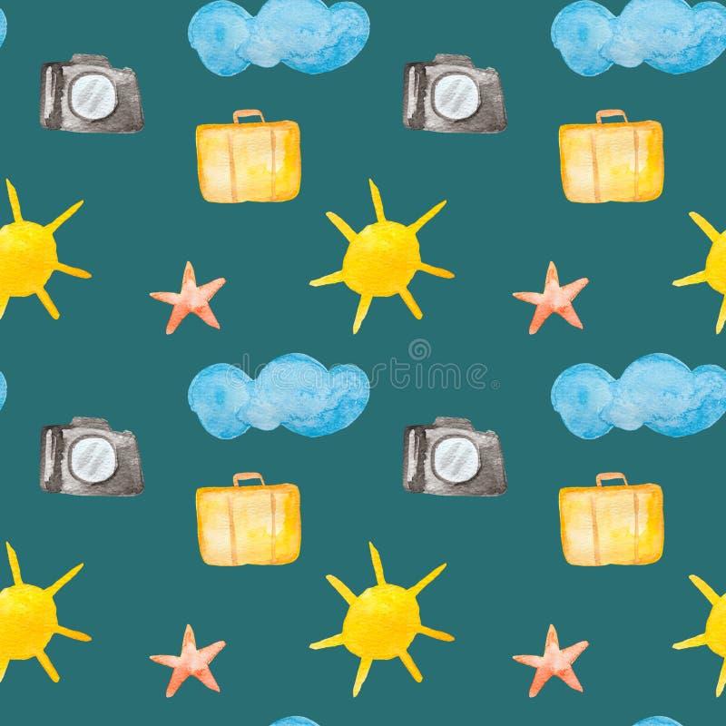Turism och resa vattenfärgmålning - sömlös modell med solen, kameran, påsen, etc. på bakgrund för havsgräsplan vektor illustrationer