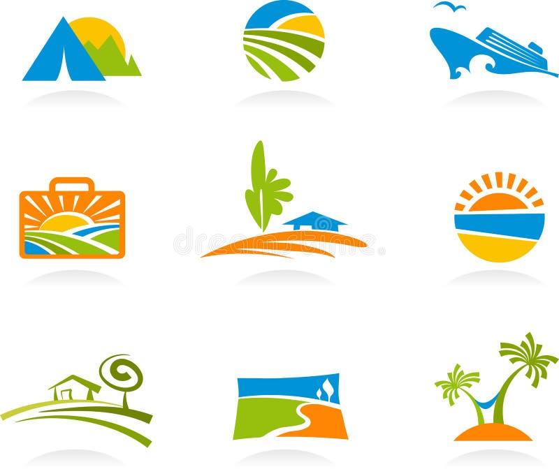 Turism och semestersymboler och logoer royaltyfri illustrationer