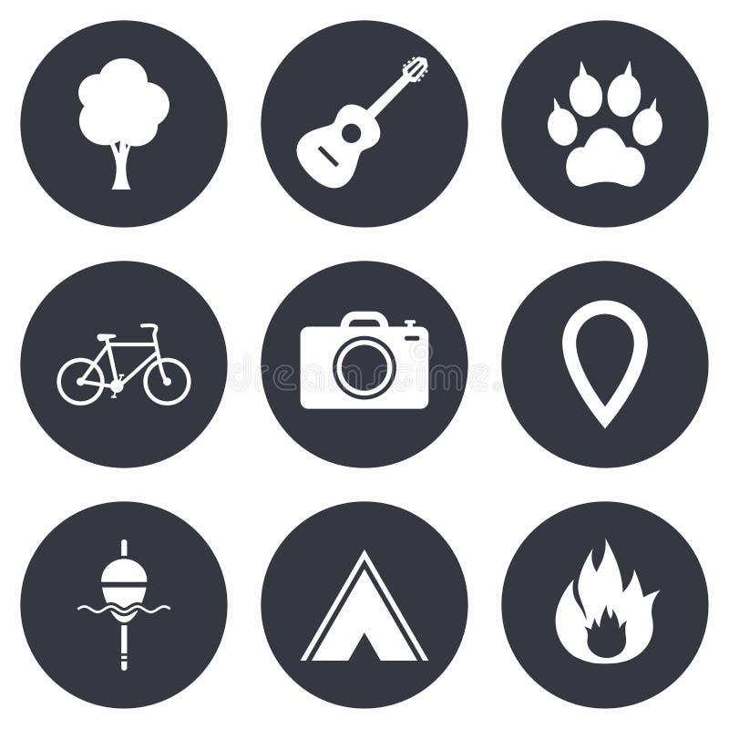 Turismo, ícones de acampamento Pesca, fogo e bicicleta ilustração stock