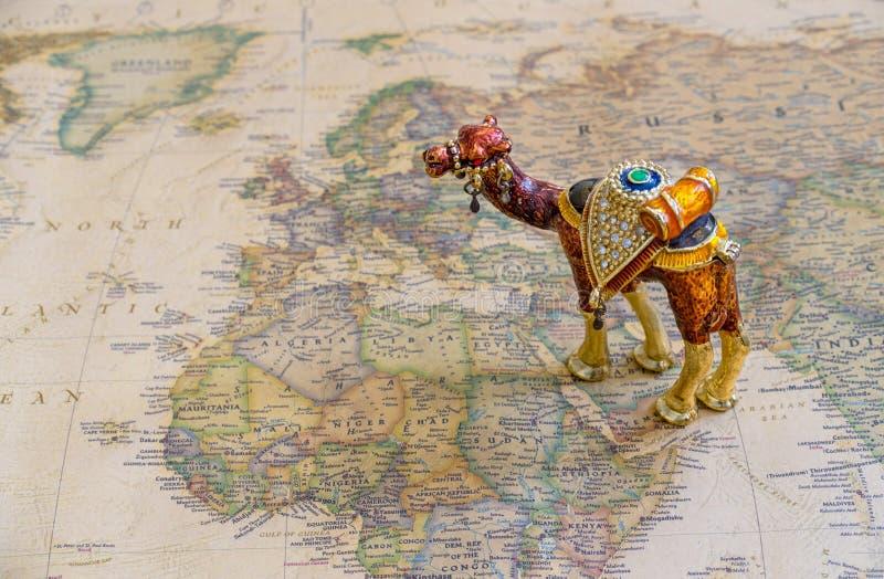 Turismo, cultura, ricchezza del concetto del mondo arabo, mappa dei paesi arabi immagine stock libera da diritti