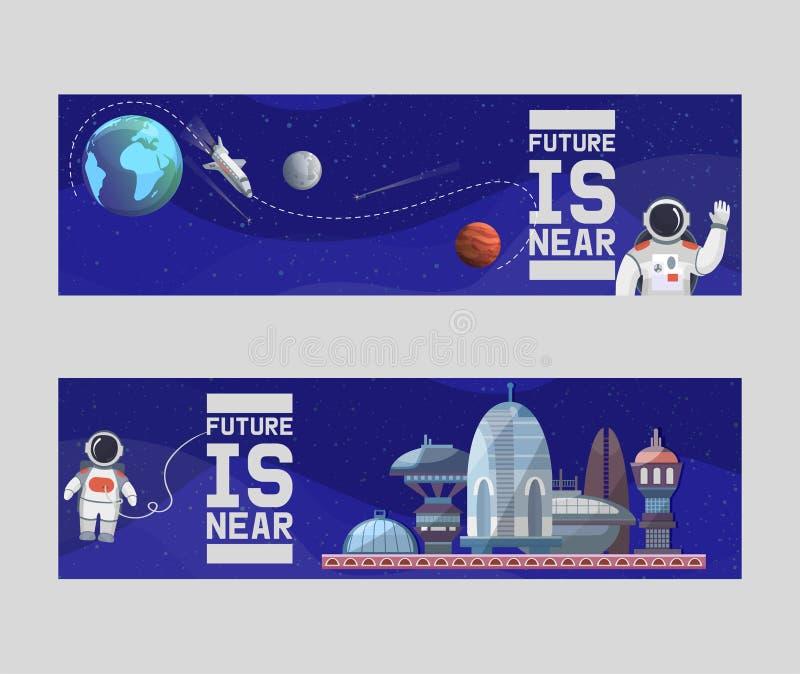 Turismo de espacio para las banderas futuras de los ejemplos del vector Astronomía, vuelo espacial de la galaxia, exploración, co libre illustration