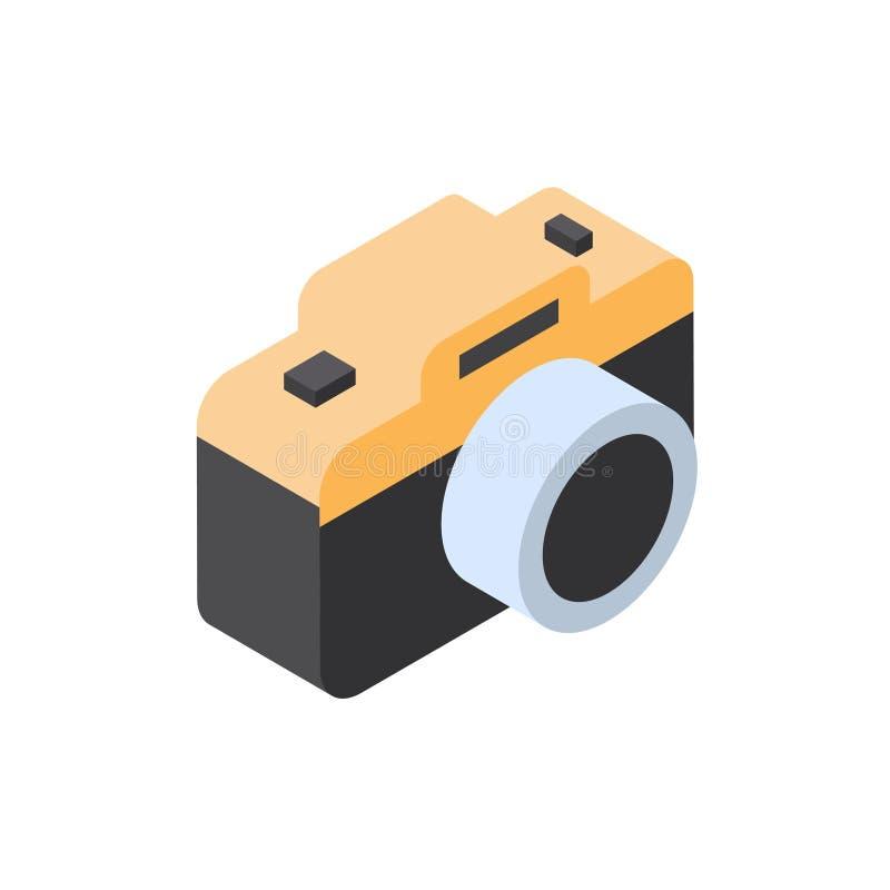 Turismo del icono de la cámara de la foto y concepto aislados isométricos del viaje libre illustration