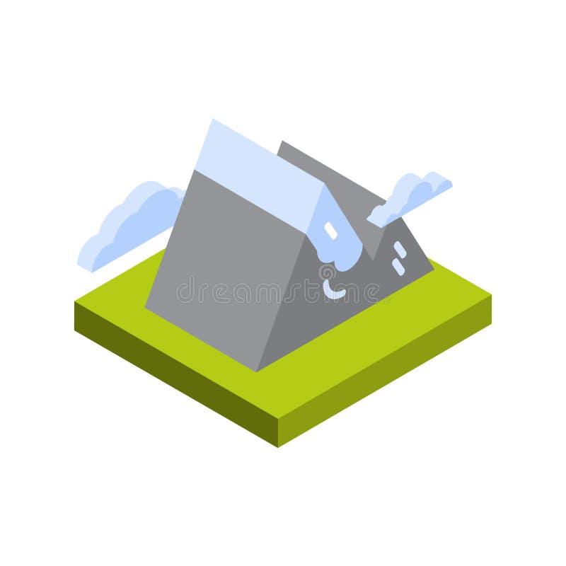 Turismo del icono de la montaña y concepto activos aislados isométricos del destino del viaje stock de ilustración