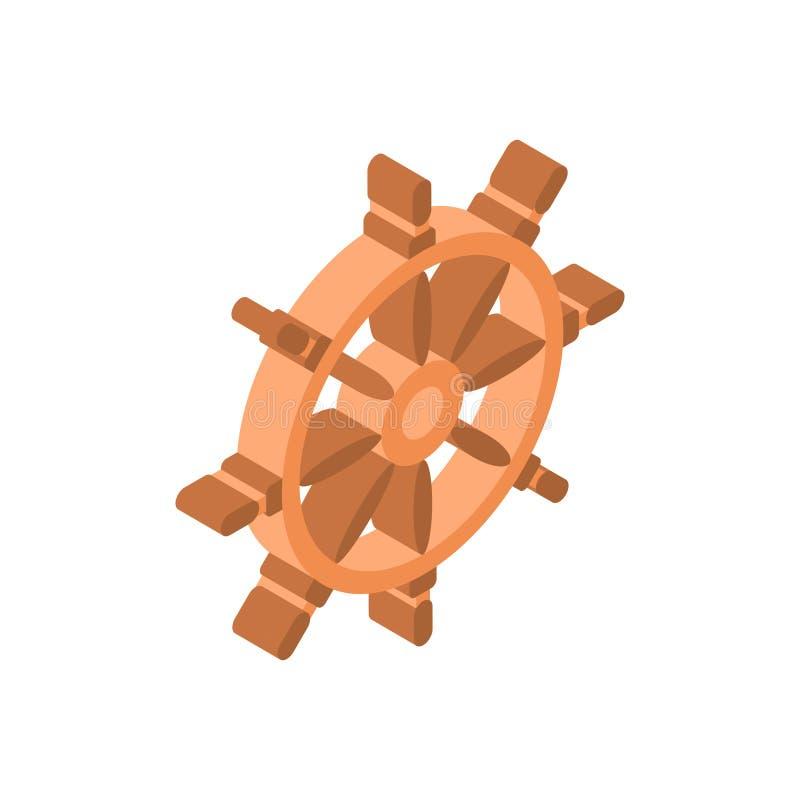 Turismo del icono del volante de la nave y concepto aislados isométricos del viaje ilustración del vector