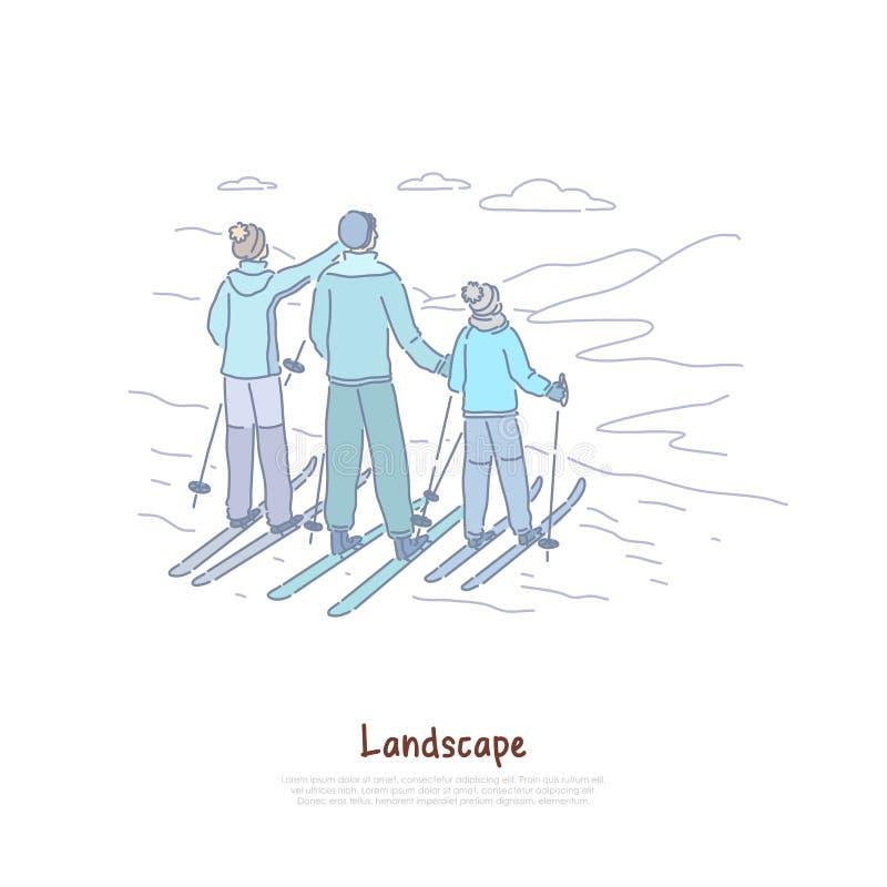 Turismo del paisaje, padres con el niño que esquía junto, gente en ropa caliente, vacaciones de familia, bandera de la estación d stock de ilustración