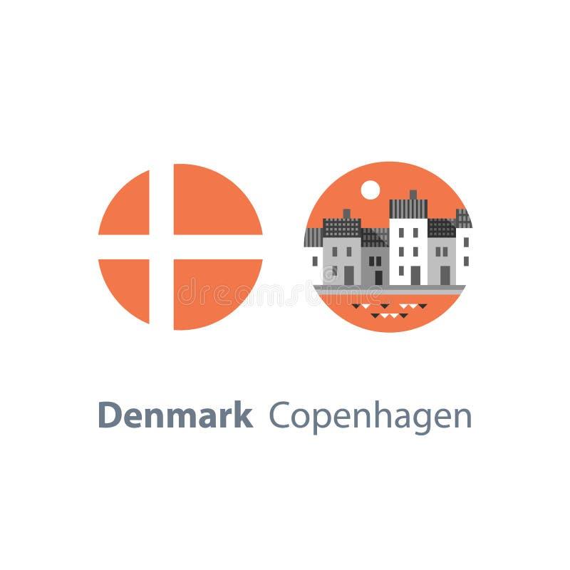 Turismo destinazione di viaggio in Europa, Danimarca, fila di case di Copenhaghen da acqua, via di Nyhavn con il canale, punto di illustrazione vettoriale