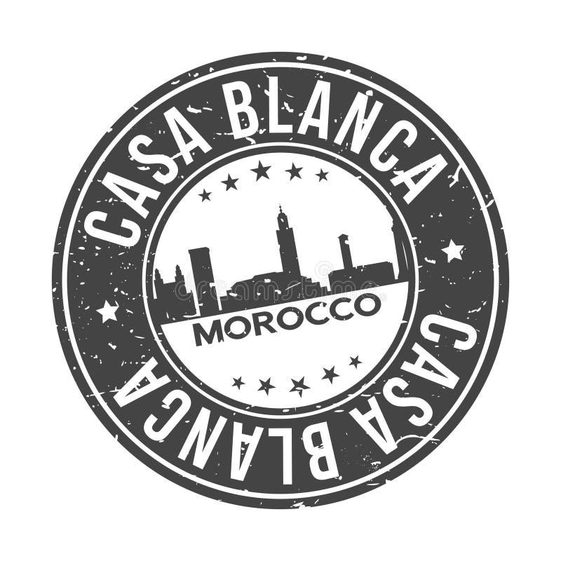Turismo di viaggio di vettore del bollo di progettazione dell'orizzonte della città di Blanca Morocco Africa Round Button della c illustrazione di stock