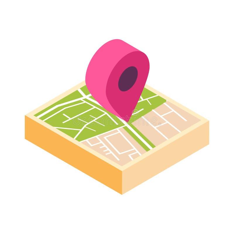 Turismo do ícone do ponteiro do mapa e conceito isolados isométricos do curso ilustração do vetor