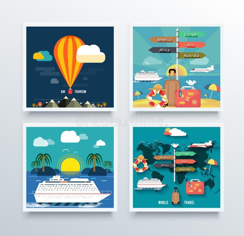 Turismo do ar e conceito do curso do mundo ilustração royalty free