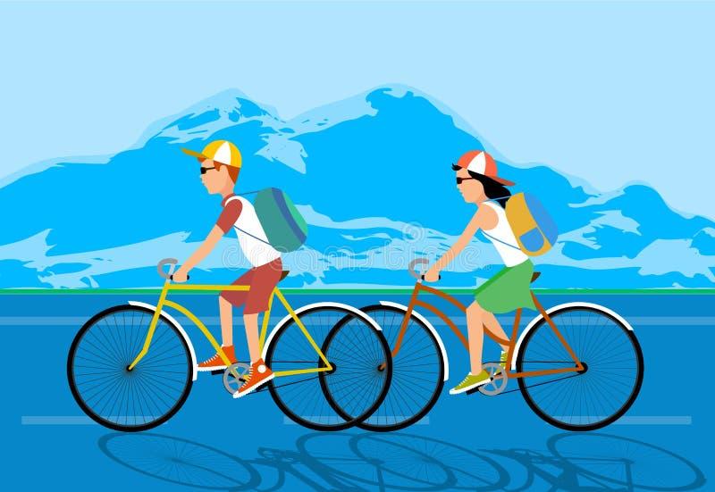 Turismo do ciclo povos contra partes superiores da montanha Ilustração ilustração do vetor