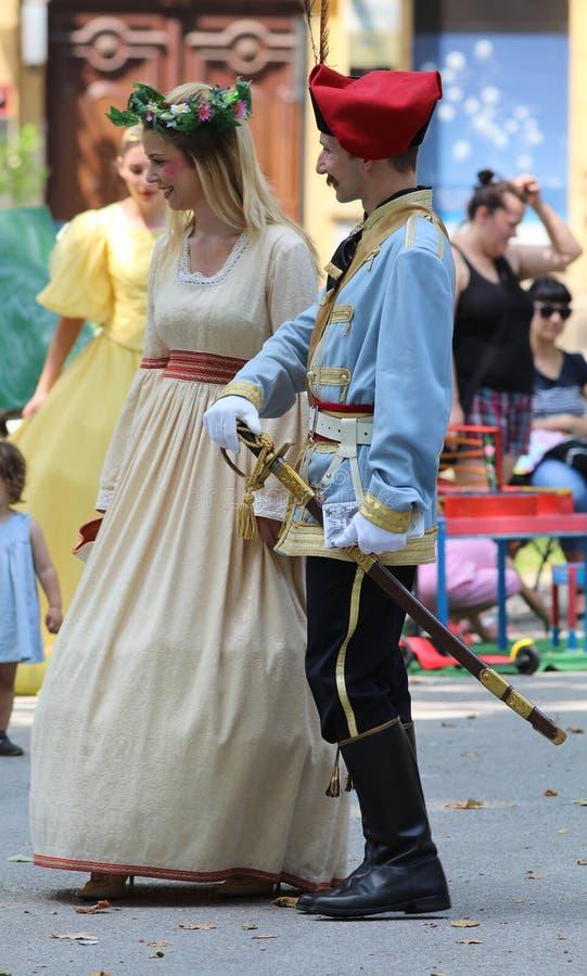 Turismo en Zagreb/el imitador y la hada de Jelacic de la prohibición imagen de archivo libre de regalías