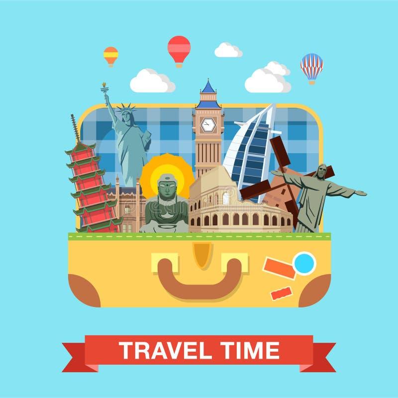 Turismo famoso del viaje de las señales de las vistas de la maleta plana del vector stock de ilustración