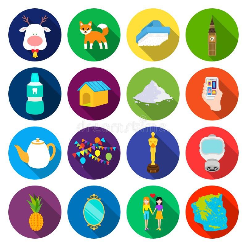 Turismo, lazer, negócio e o outro ícone da Web no estilo liso amizade, mar, ícones cantinent na coleção do grupo ilustração royalty free