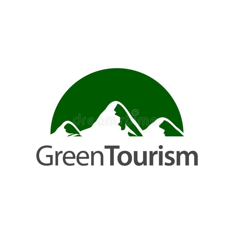 Turismo verde Modello di progettazione di massima di logo dell'icona della montagna del semicerchio illustrazione vettoriale