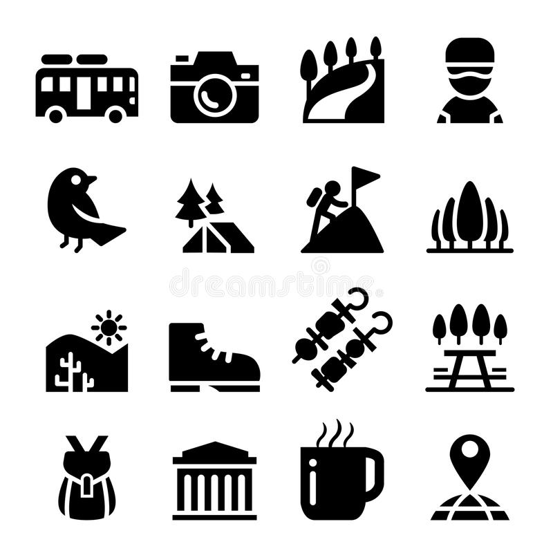 Turismo, viaje y sistema del icono de la aventura libre illustration