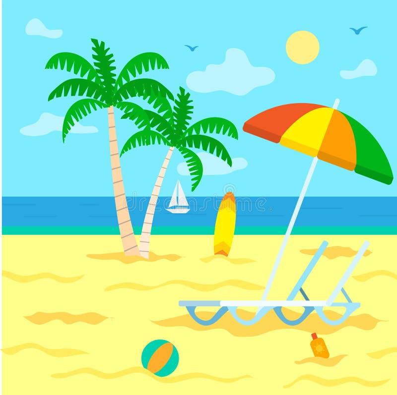 Turismsommarsemester, strand med palmträd stock illustrationer