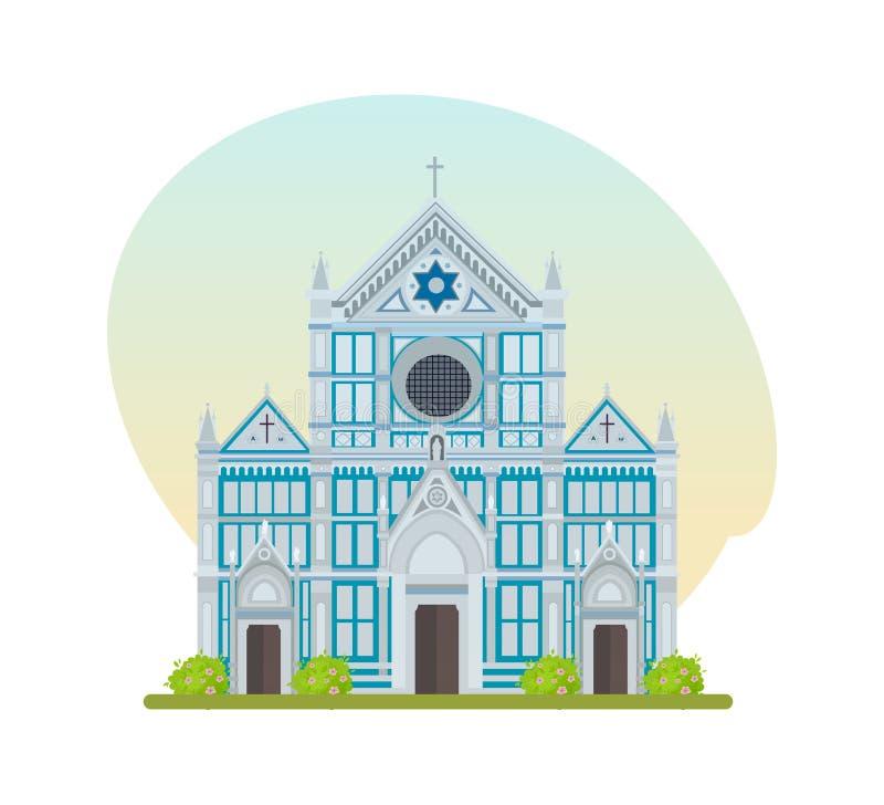 Turist- dragning, stor Franciscankyrka av basilikan av Santa Croce royaltyfri illustrationer