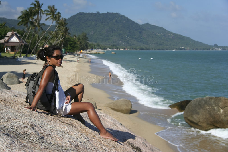 turist för samui för lamai för strandkvinnligkoh arkivfoton