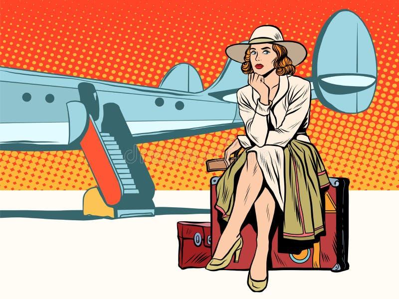 Turist- flickasammanträde på en resväska som reser med nivån stock illustrationer