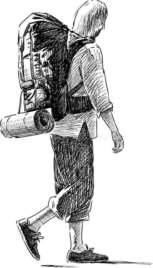Turist- gå vektor illustrationer