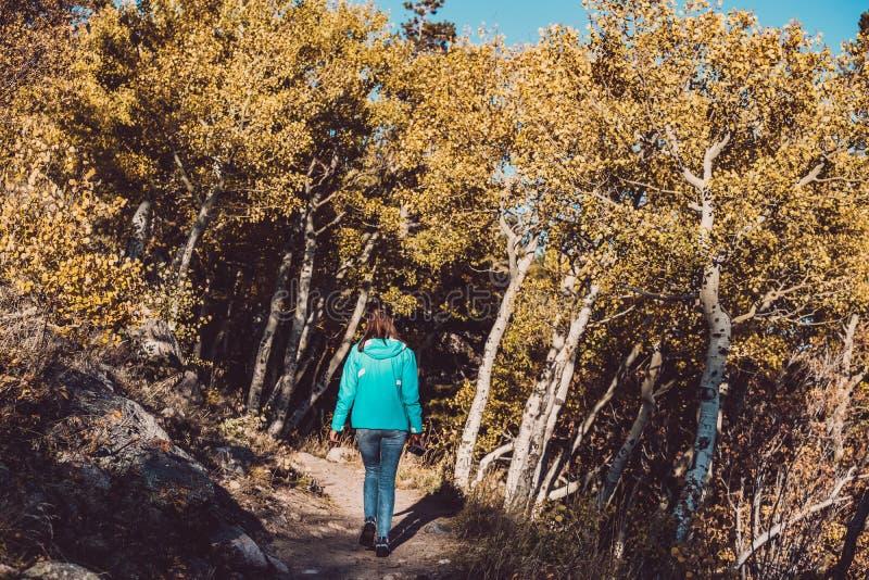 Turist i asp- dunge på hösten arkivfoto