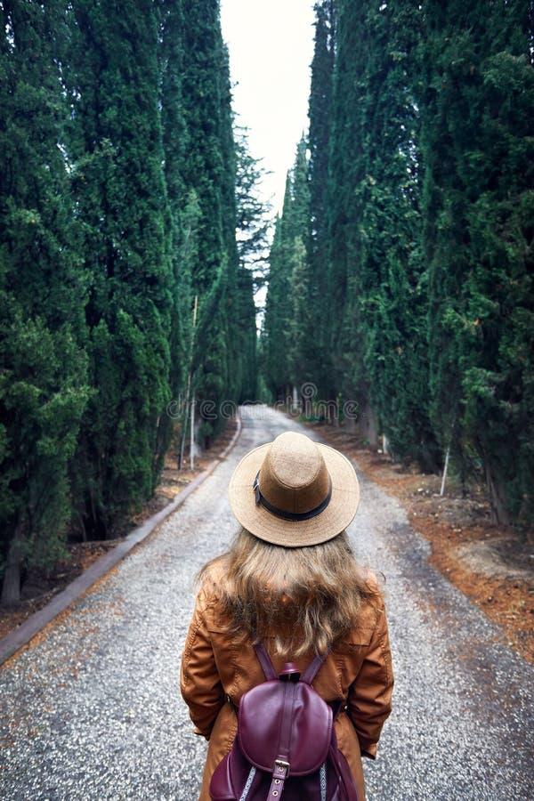 Turist i hatt på cypressgränden arkivfoto