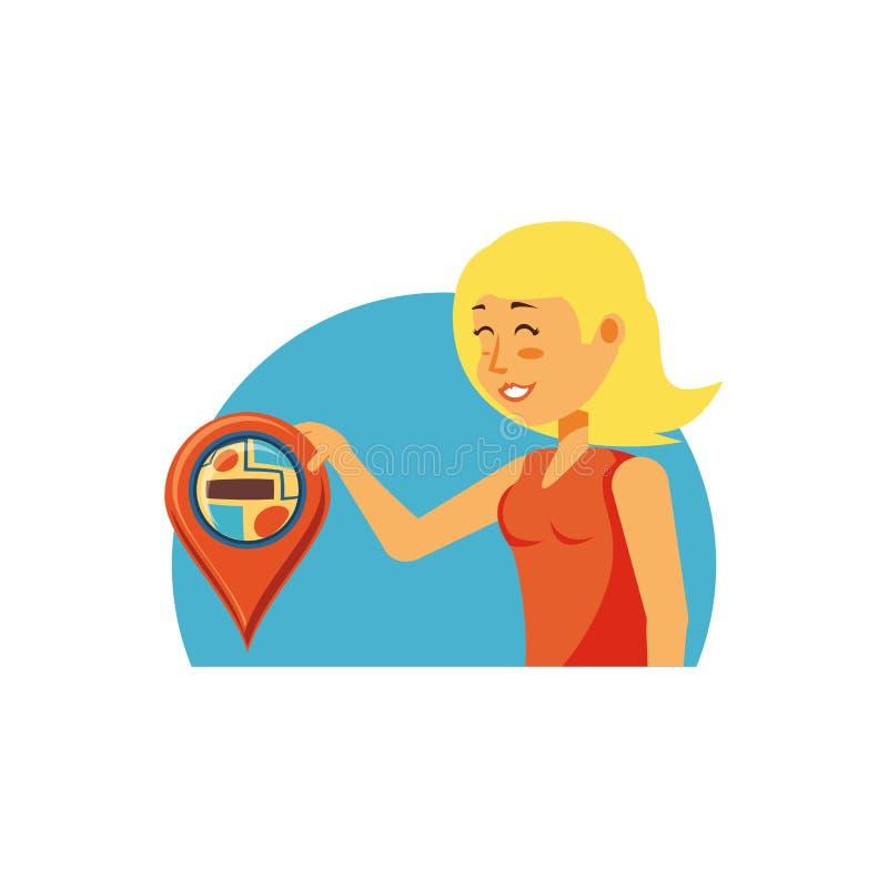 Turist- kvinna med stiftläge vektor illustrationer