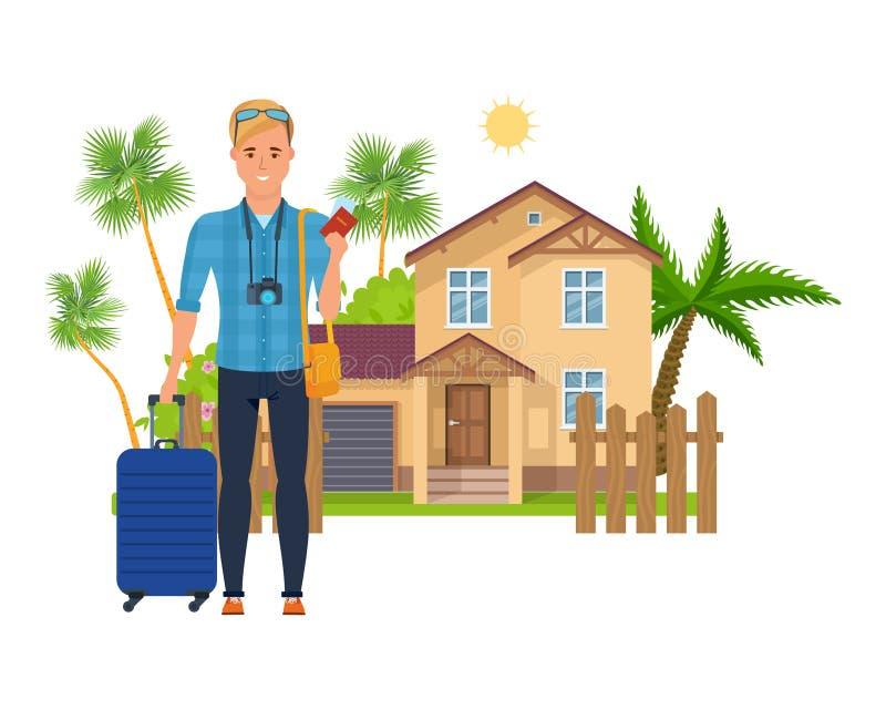 Turist- man för teckenperson, att vila, turism i vändkretsar, semester, tur royaltyfri illustrationer