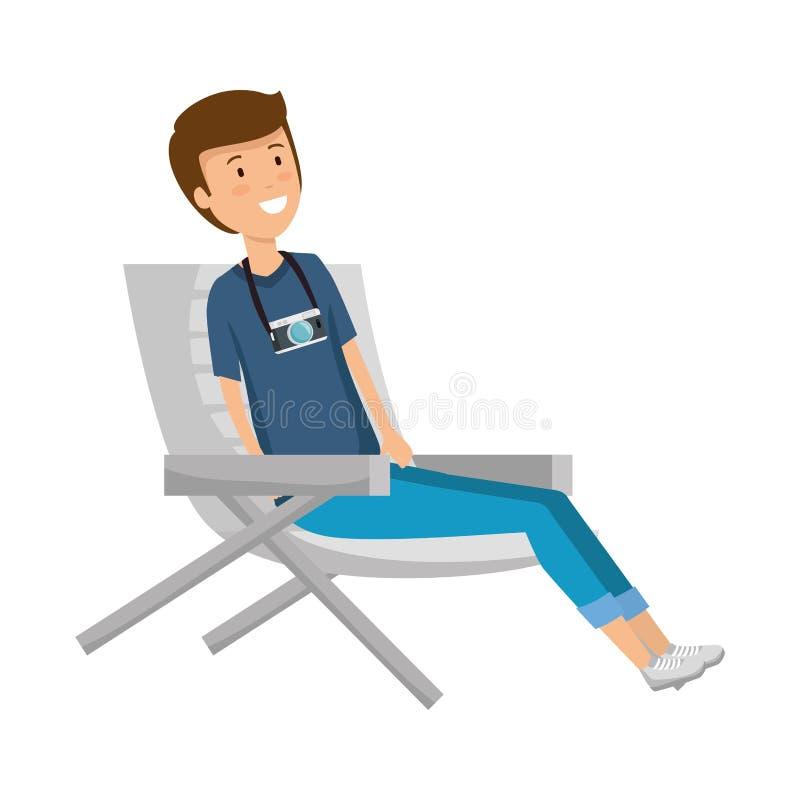 Turist- man som sitter i stoltecken vektor illustrationer