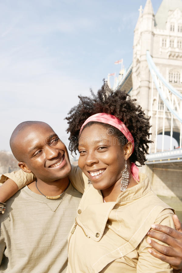 Turist- par i den London ståenden. arkivbild