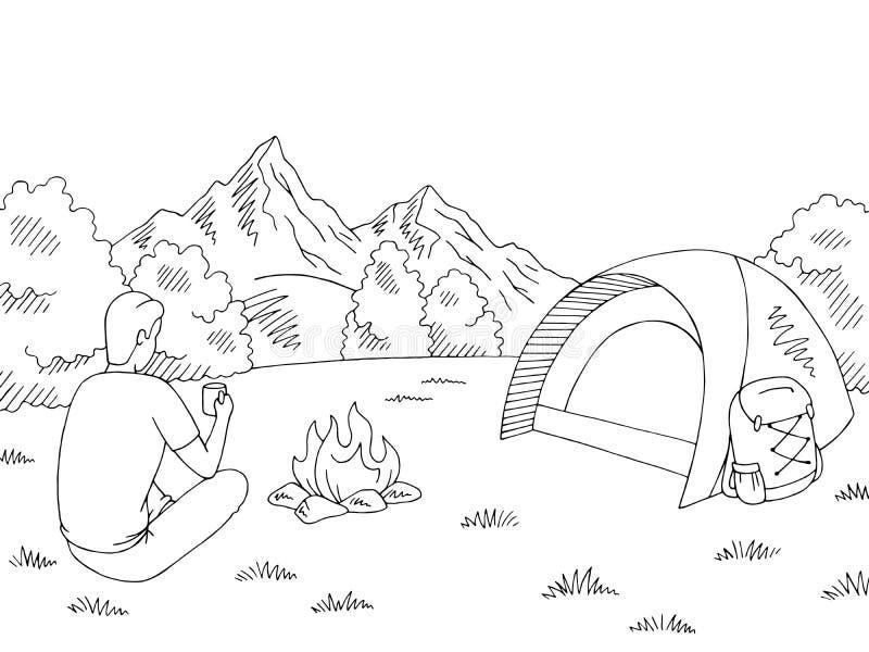 Turist- sammanträde nära brasan och dricka från en kopp Det campa svarta vita berglandskapet för diagrammet skissar illustrationv royaltyfri illustrationer