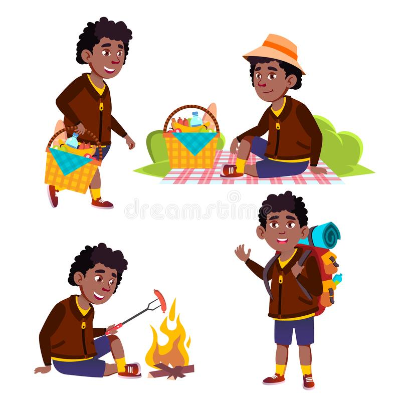Turist- skolpojkevektor för pojke Picknicken sommar vilar vandring roliga barn junior _ Afro- amerikan för annonsering vektor illustrationer